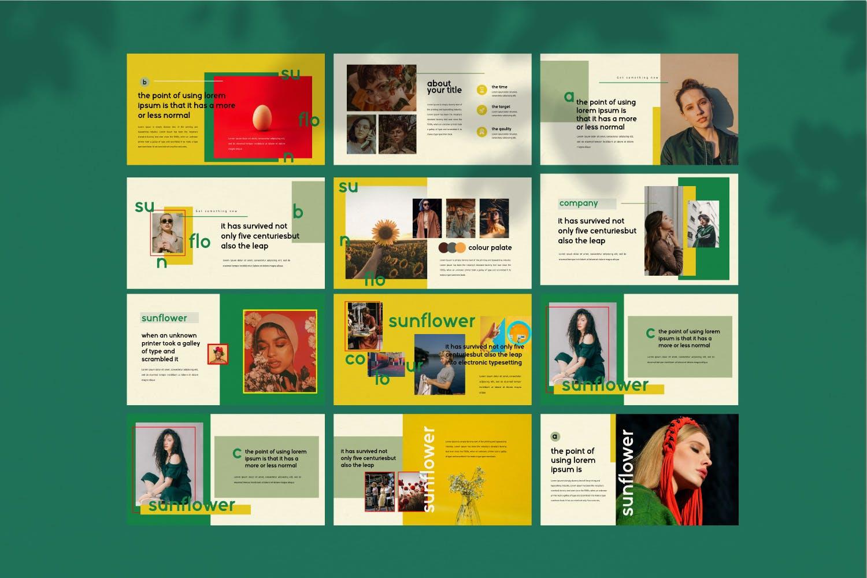 创意版式对比色风格多用途PPT幻灯片模板sunflowers keynote插图(9)