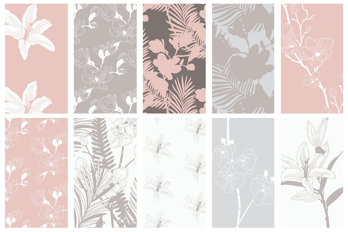 35个植物矢量图案装饰展示效果35 Patterns 8 Instagram Templates插图(9)