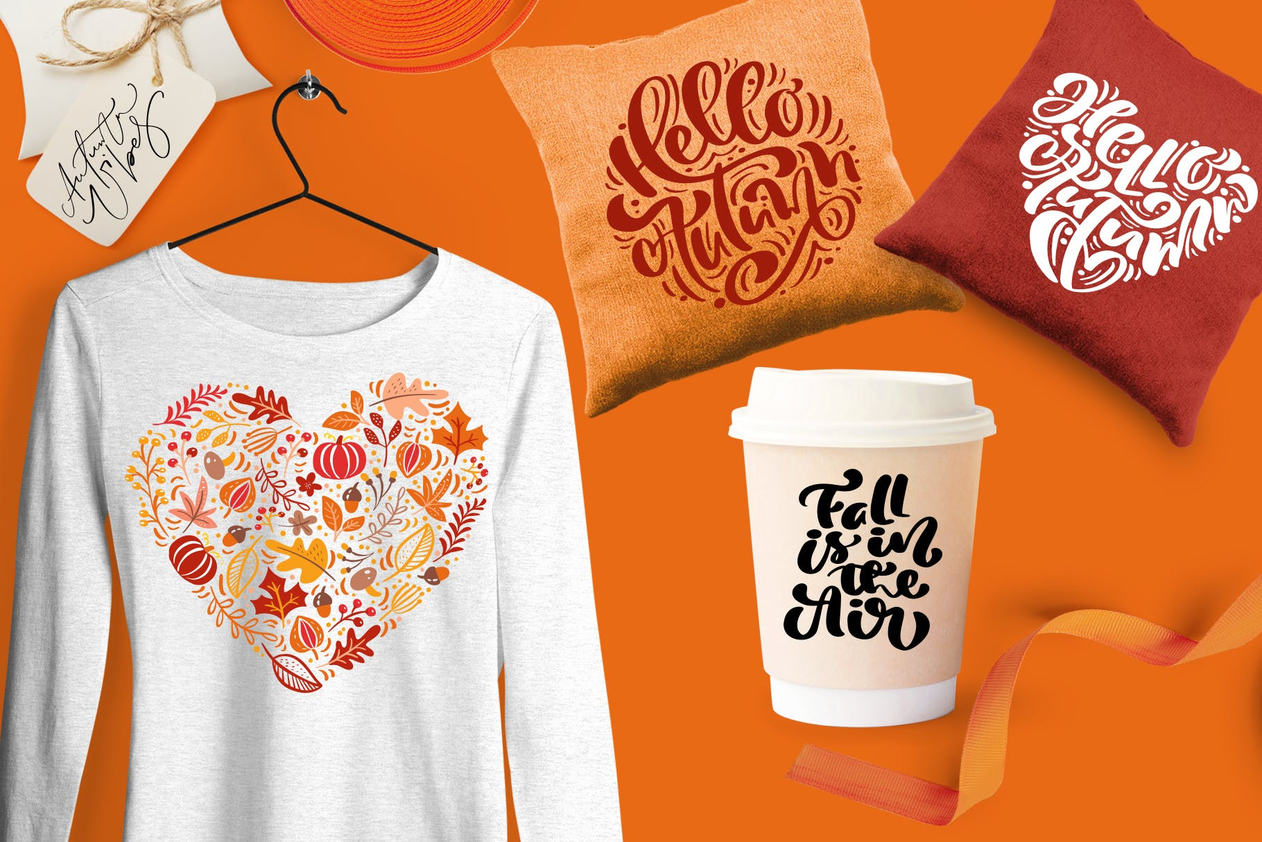 矢量书法和花卉元素图案花纹素材Autumn vector calligraphy floral elements插图(10)