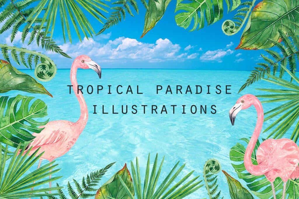 火烈鸟热带树叶和花朵主题装饰元素纹理花纹装饰图案FLAMINGO PARADISE watercolor set插图(10)