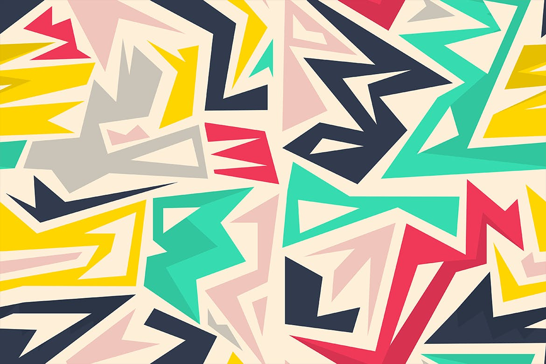 街头艺术创意纹理材质装饰元素Graffiti Maze Seamless Patterns插图(9)