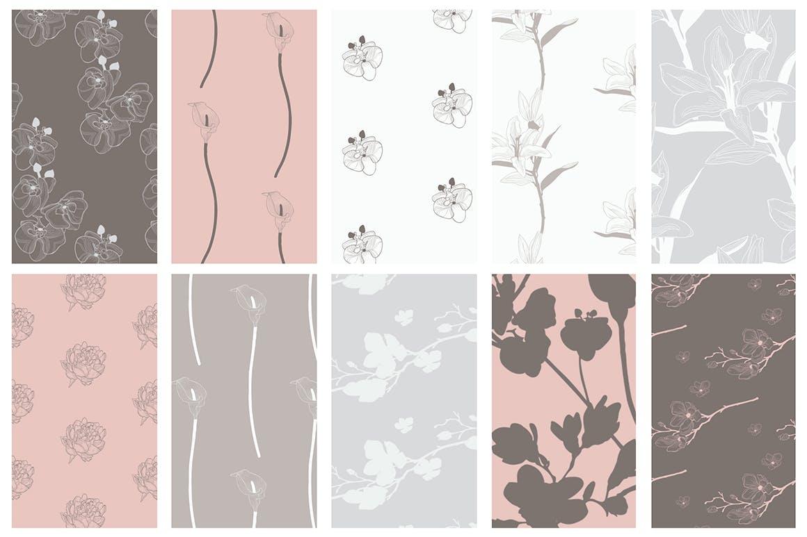 35个植物矢量图案装饰展示效果35 Patterns 8 Instagram Templates插图(10)