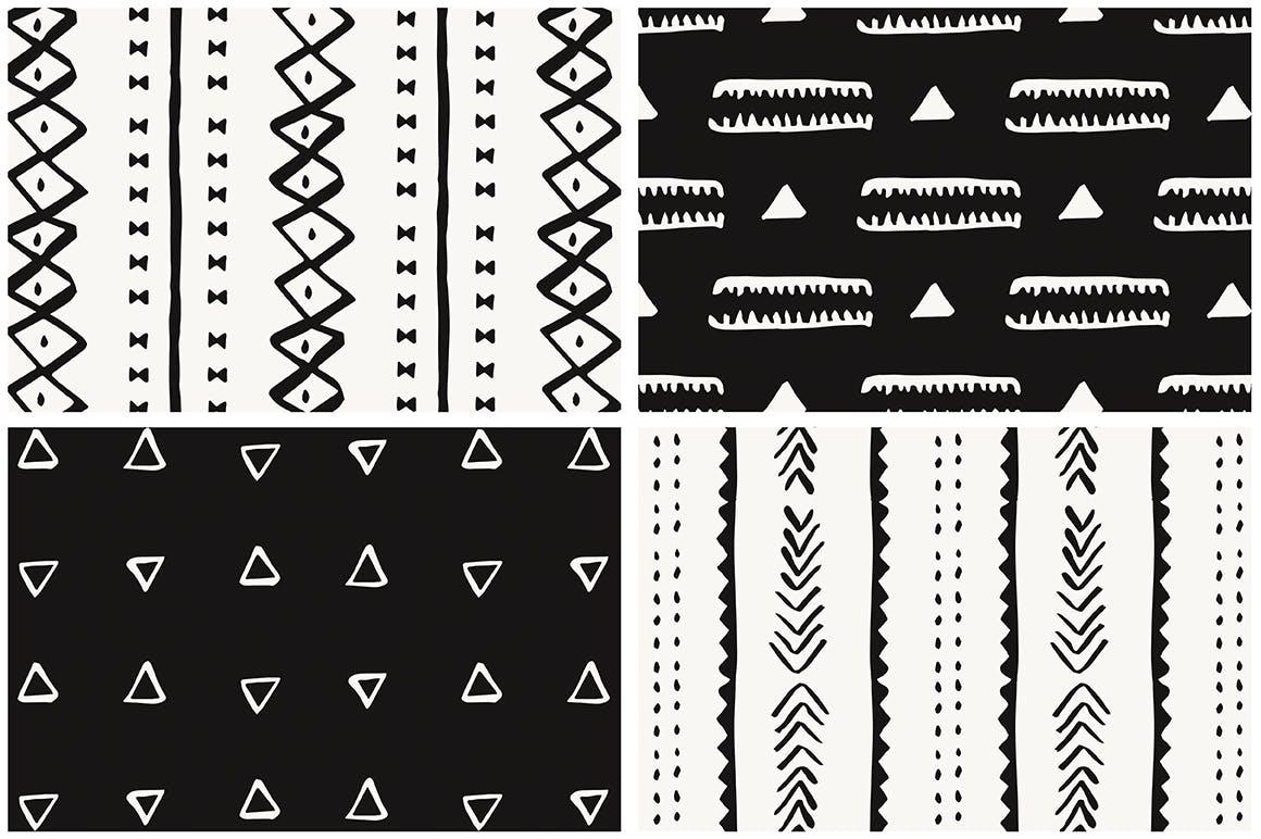 20个美丽的非洲泥布矢量图案集合装饰图案花纹插图(11)