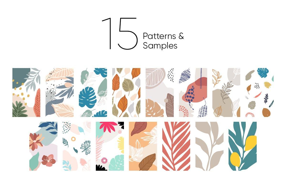 自然和花朵影响的艺术图案化妆品牌包装装饰图案Floral Backgrounds Patterns插图(11)