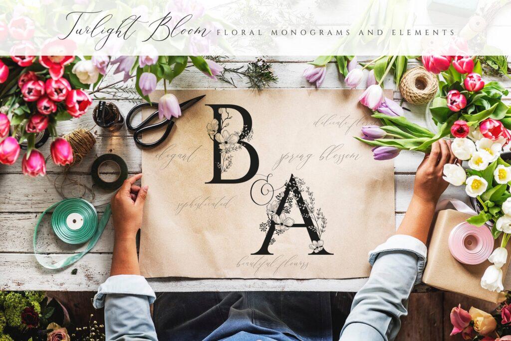 非常优雅的暮光之花系列花体字母组合Floral Monograms Elements插图(11)