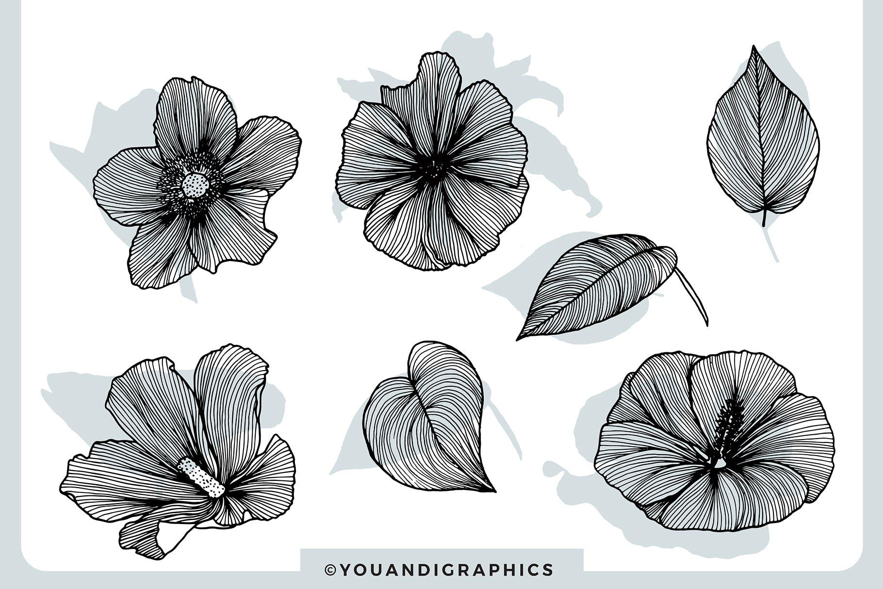 线条艺术花卉矢量图案元素Lineart Floral Patterns Elements插图(10)