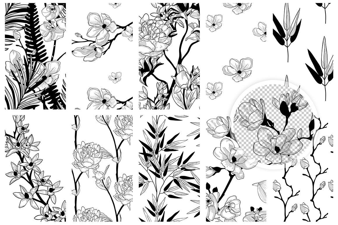 35个植物矢量图案装饰展示效果35 Patterns 8 Instagram Templates插图(11)