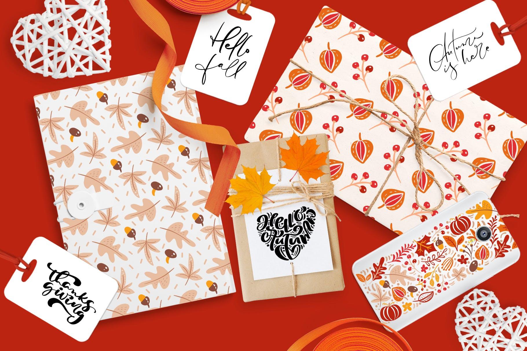 矢量书法和花卉元素图案花纹素材Autumn vector calligraphy floral elements插图(12)