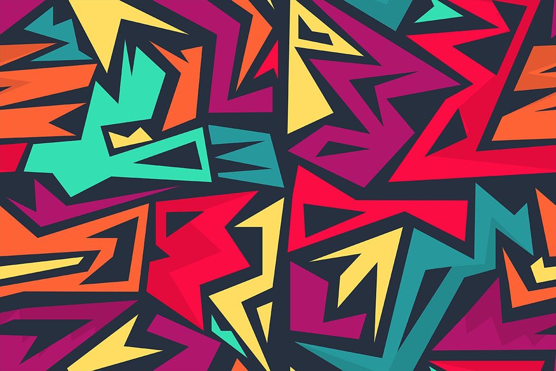街头艺术创意纹理材质装饰元素Graffiti Maze Seamless Patterns插图(11)