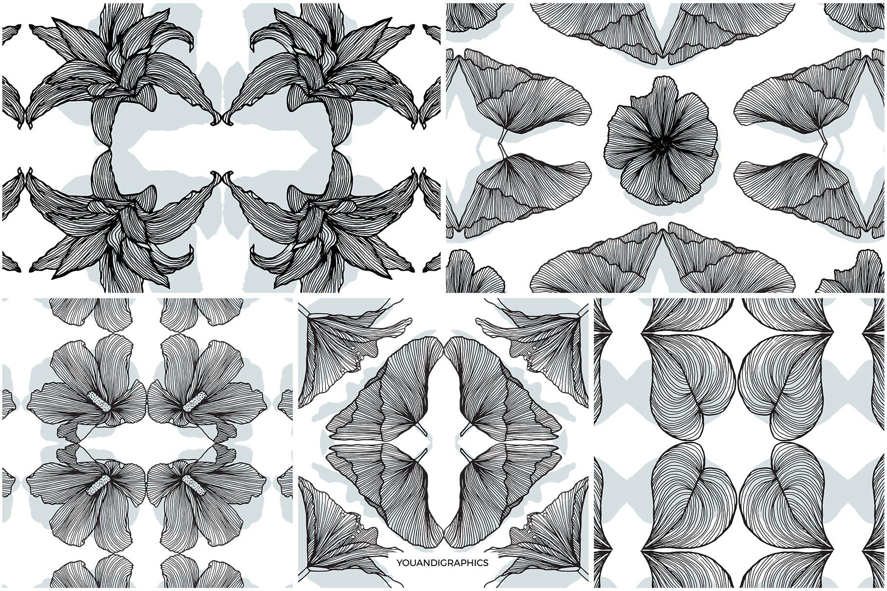 线条艺术花卉矢量图案元素Lineart Floral Patterns Elements插图(11)