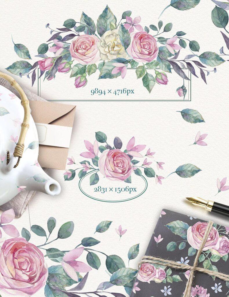 企业品牌装饰图案花卉/花圈/装饰图案The garden roses插图(12)
