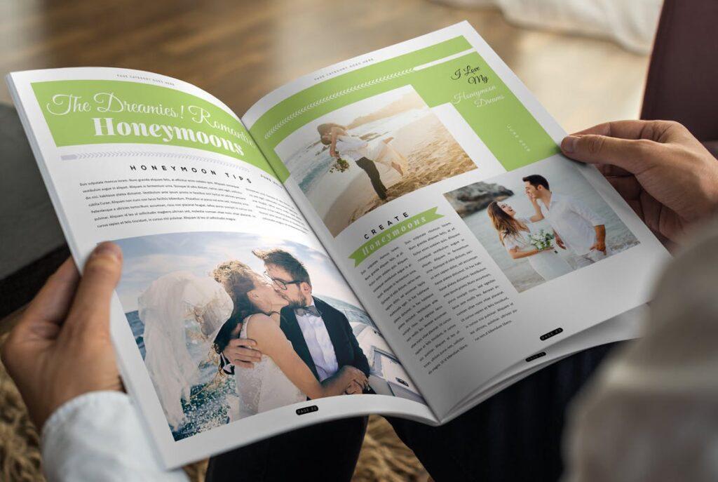 文艺精致版式环保主题婚礼杂志模板Wedding Magazine Template插图(10)
