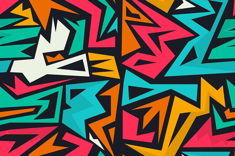 街头艺术创意纹理材质装饰元素Graffiti Maze Seamless Patterns插图(12)
