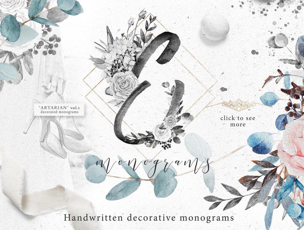 艺术风格灰色字母组合花束装饰图案纹理素材下载Monograms Artarianvol1插图(13)