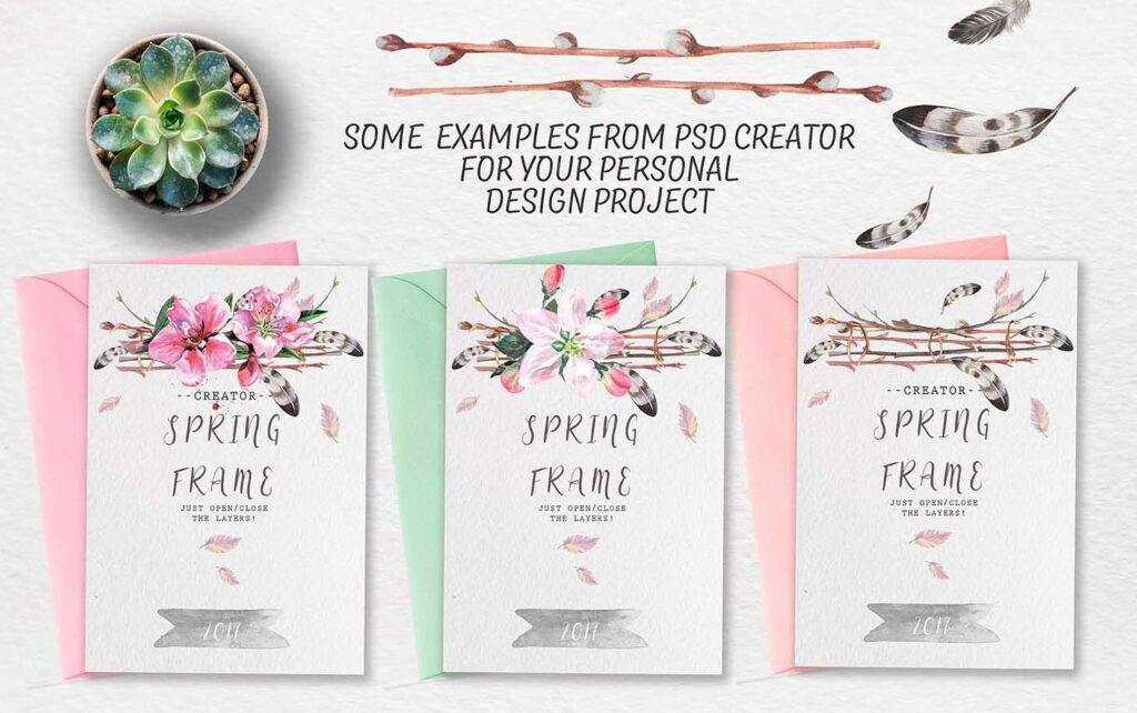 手绘水彩花环装饰图案纹理下载Spring bloom set 80 PNG插图(10)