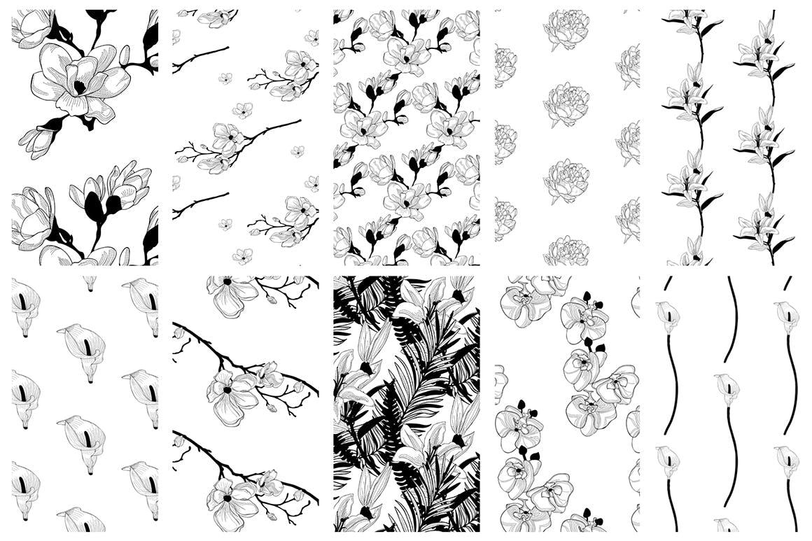 35个植物矢量图案装饰展示效果35 Patterns 8 Instagram Templates插图(13)