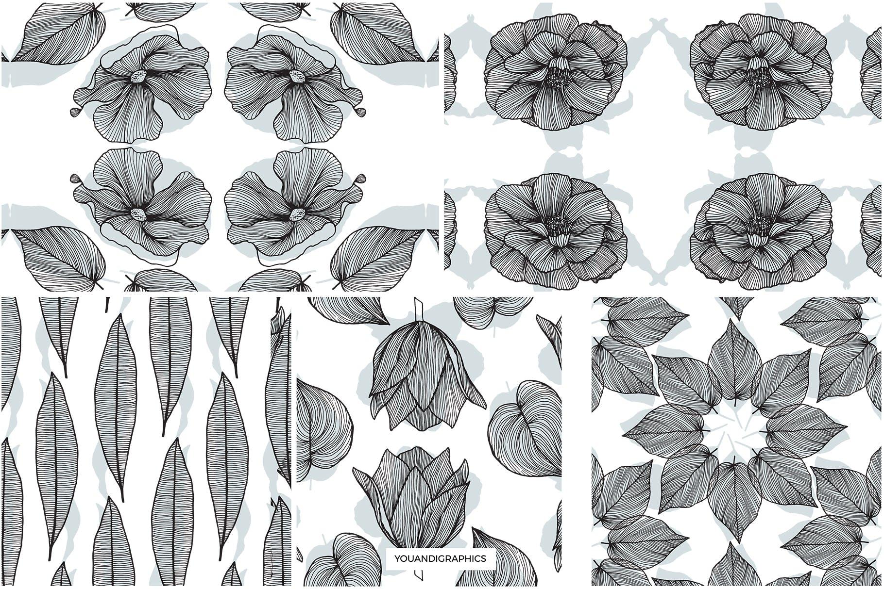 线条艺术花卉矢量图案元素Lineart Floral Patterns Elements插图(13)