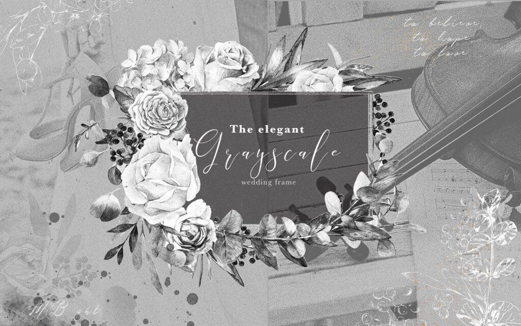 艺术风格灰色字母组合花束装饰图案纹理素材下载Monograms Artarianvol1插图(14)