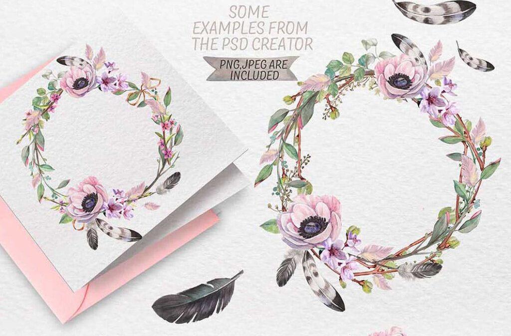 手绘水彩花环装饰图案纹理下载Spring bloom set 80 PNG插图(11)