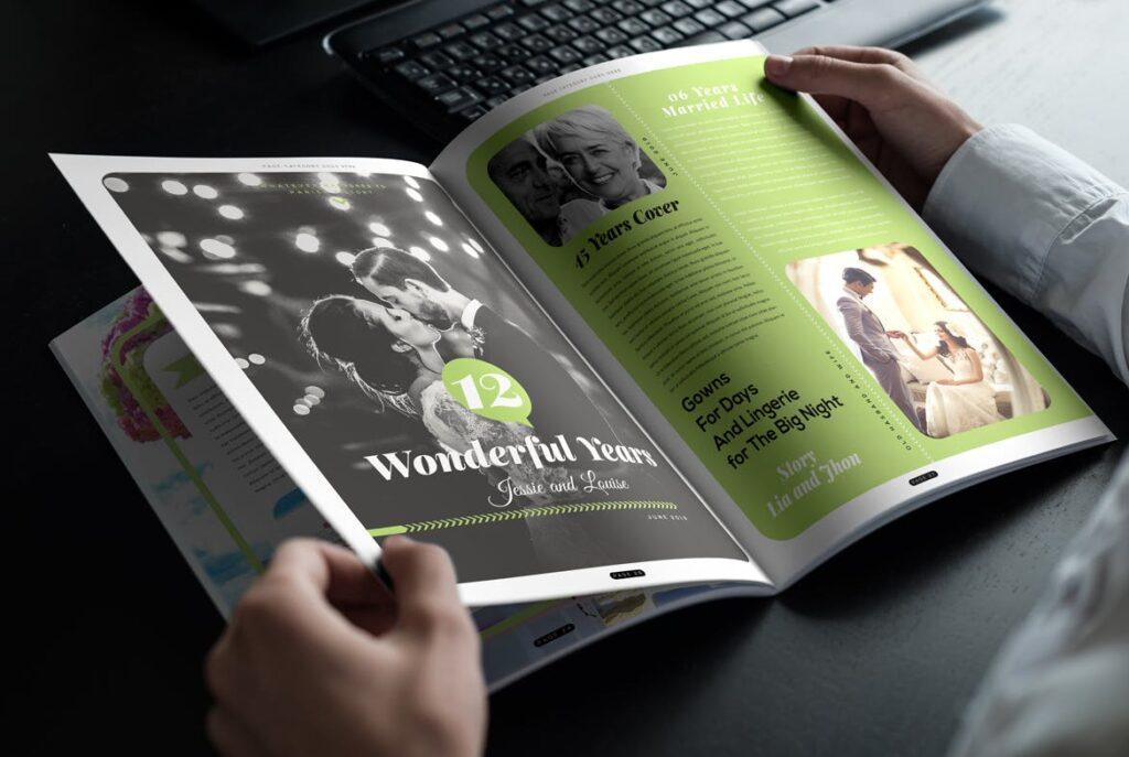 文艺精致版式环保主题婚礼杂志模板Wedding Magazine Template插图(12)
