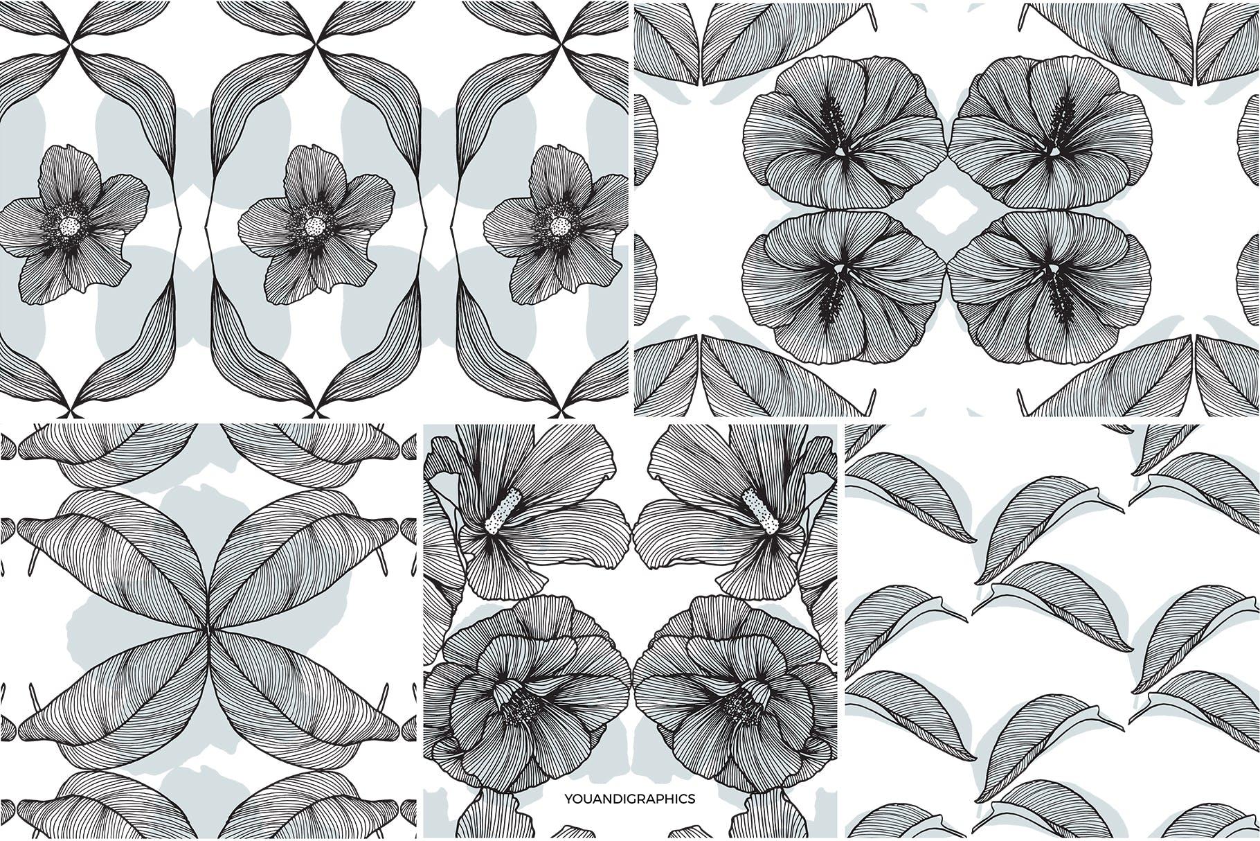 线条艺术花卉矢量图案元素Lineart Floral Patterns Elements插图(14)