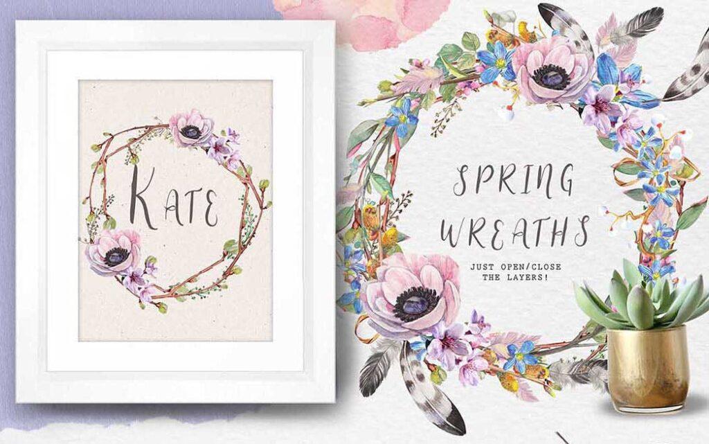 手绘水彩花环装饰图案纹理下载Spring bloom set 80 PNG插图(12)