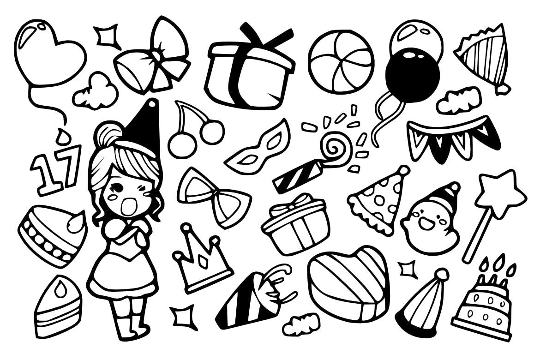 24个生日聚会类型手绘图标风格24 Birthday Party Doodles插图(1)