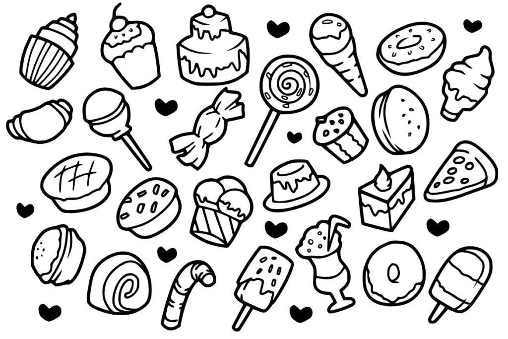 25个甜蜜蛋糕涂鸦剪贴画食品美食线性图标25 Sweet Cake Doodles插图(1)
