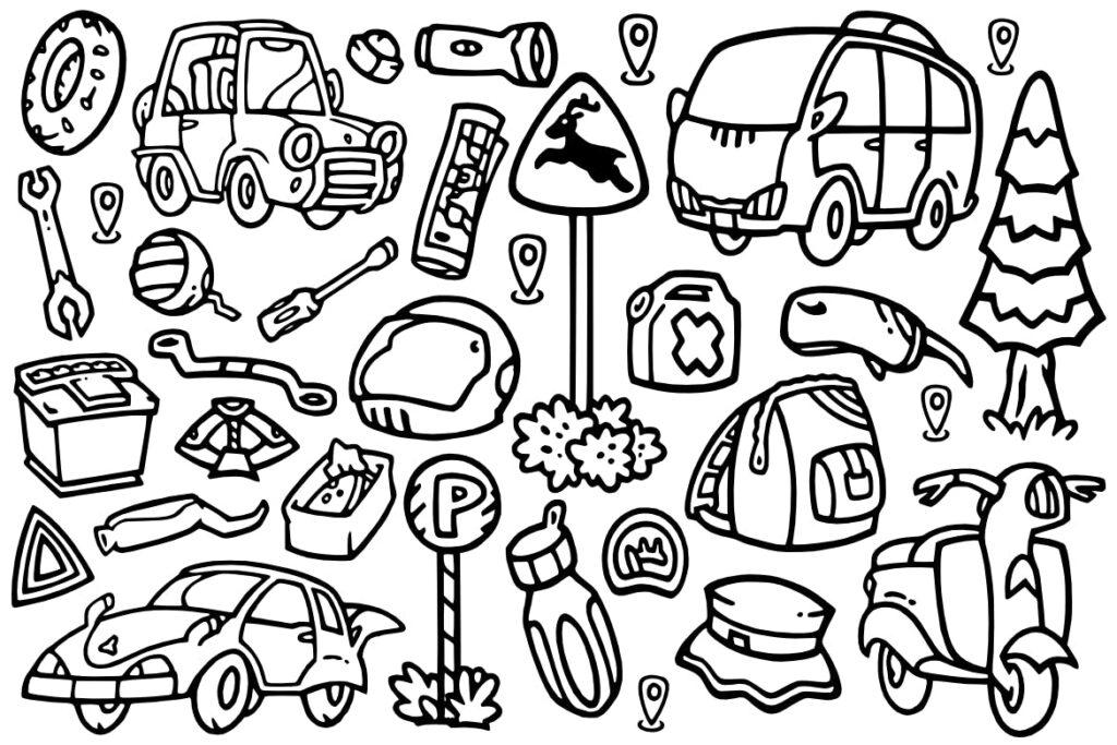28个冒险和旅游涂鸦矢量图标装饰28 Adventure doodles插图(1)