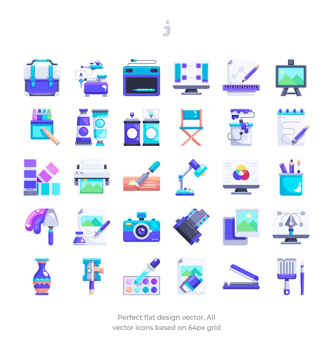30个艺术家工作室图标扁平风创意图标源文件下载30 Artist studio Icons Flat插图(1)