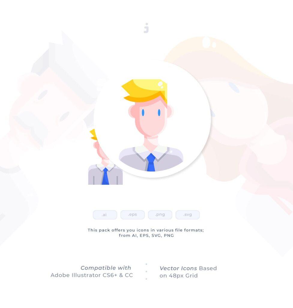 30个多脸型人物头像图标素材30 Avatar Icon set Flat插图(1)