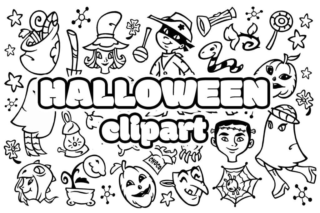 30个万圣节涂鸦剪贴画装饰元素30 Halloween Doodle Clipart插图