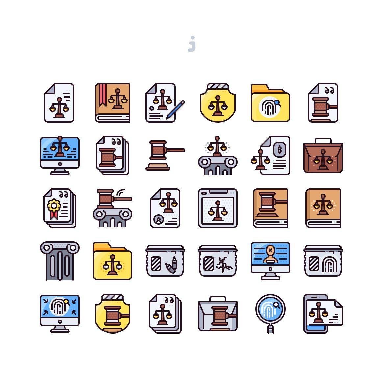 30个法律相关系列图标描边风源文件下载30 Law Icon set Detailed Round line插图(1)