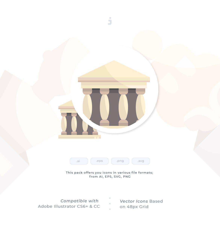 30个博物馆系列相关图标创意原文件下载30 Museum Icon set Flat插图(1)