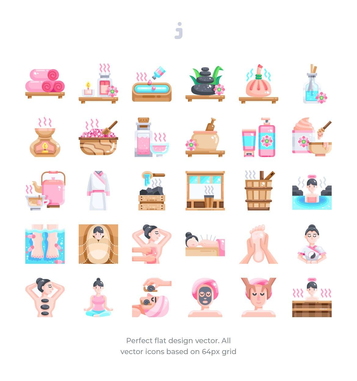 30个水疗和治疗图标源文件下载30 Spa and therapy Icons Flat插图(1)