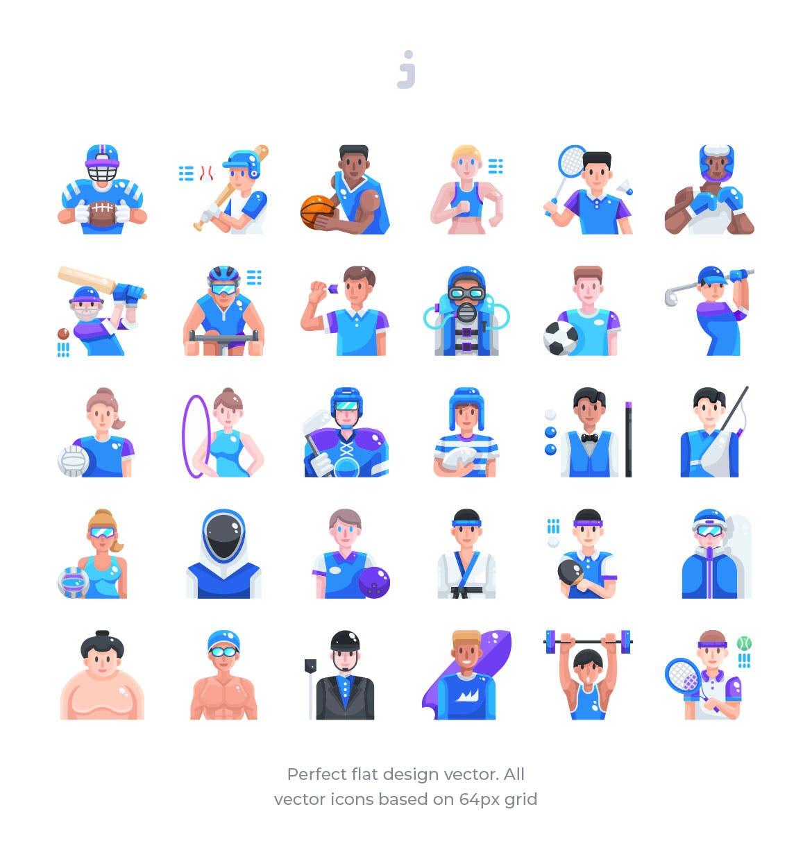 30个健身运动会动作场景源文件下载30 Sport Avatar Icons Flat插图(1)