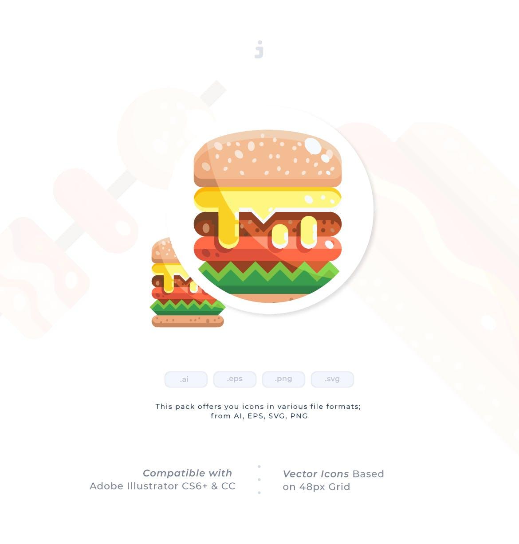 30个街头食品元素扁平风图标源文件下载30 Street Food Icon set Flat插图(1)
