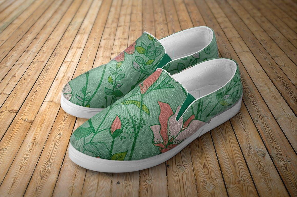 绿色植物与草药轮廓矢量图案31 Floral Patterns Pack插图(1)