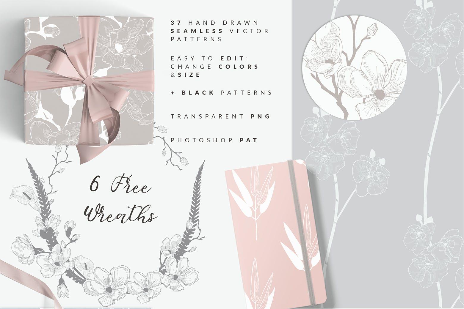 35个植物矢量图案装饰展示效果35 Patterns 8 Instagram Templates插图(1)