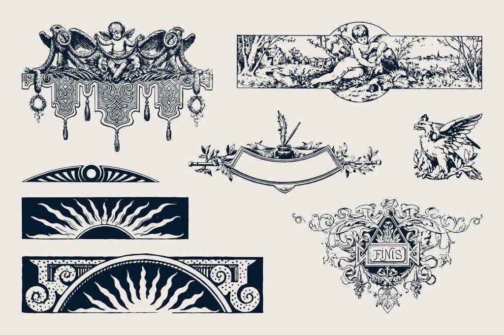 50件复古饰品黑背手绘稿插图50 Vintage Ornaments插图(1)