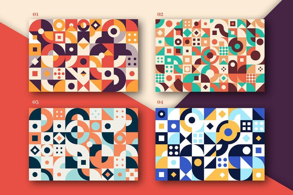 8个有趣和多彩的创意几何平面构成图案Abstract Geometric Patterns插图(1)