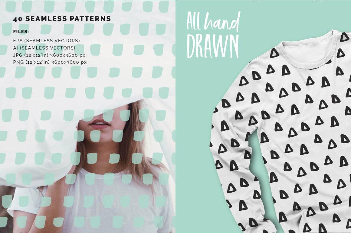 品牌服装VI品牌装饰图案纹理素材装饰图案Abstract Seamless Patterns插图(1)