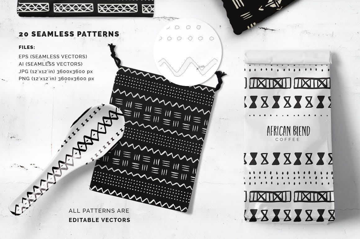 20个美丽的非洲泥布矢量图案集合装饰图案花纹插图(1)