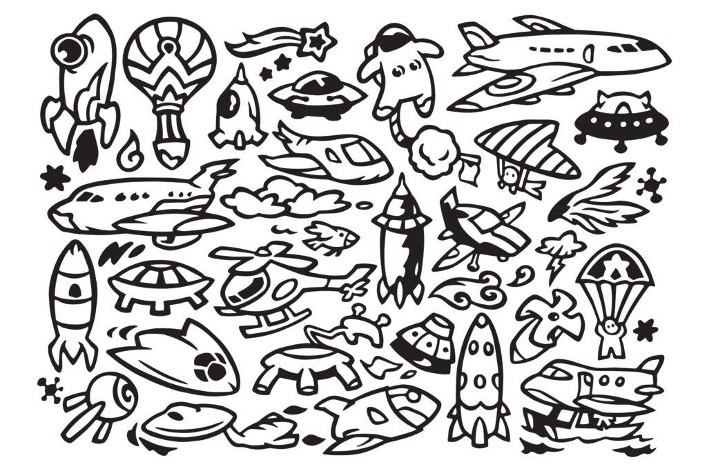 30个航空运输涂鸦插画矢量装饰图案花纹Air Transportation Doodles插图(1)