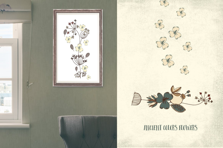 古代色彩花朵纹理素材Ancient Colors Flowers插图(1)