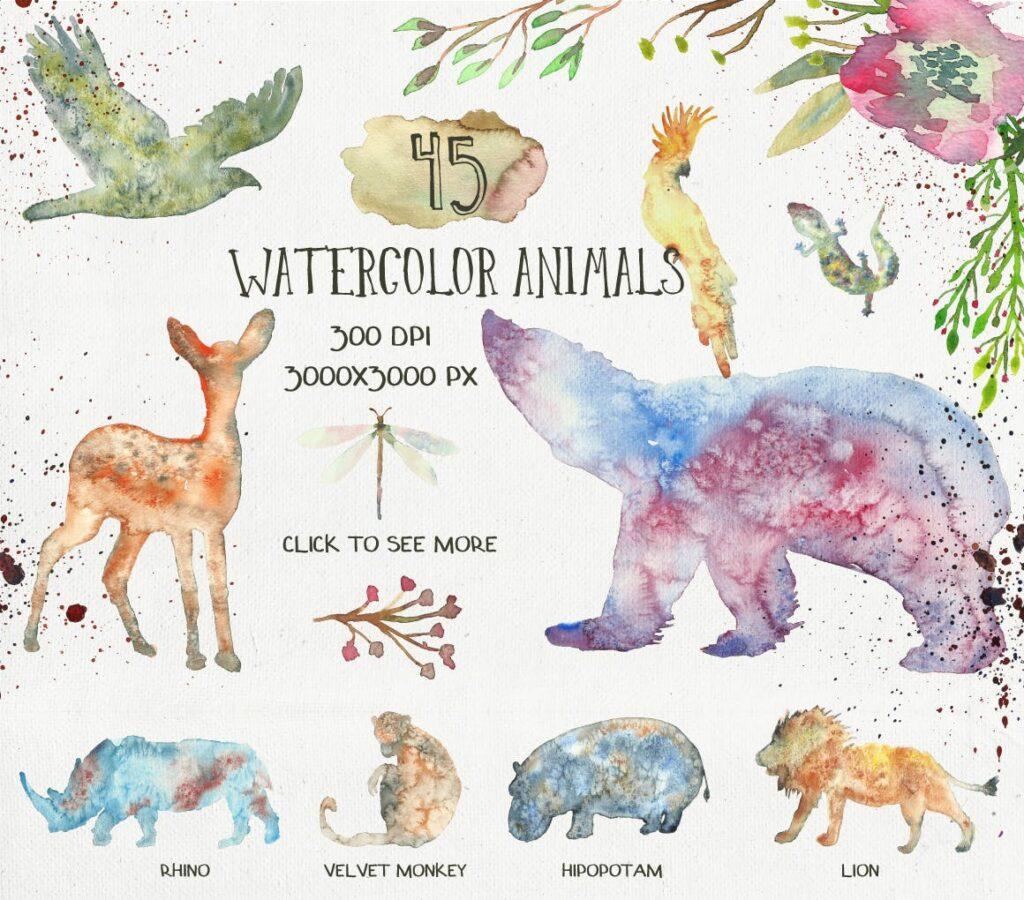 45个水彩画动物剪影的合集Animal Zone插图(1)