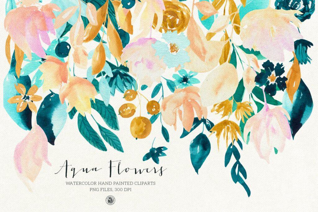蓝色水彩花卉创意图案设计Blue floral design插图(2)