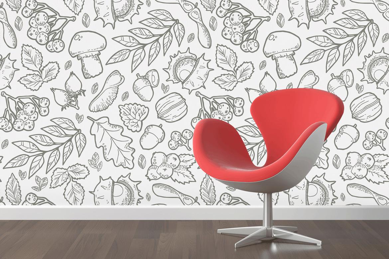 复古植物野生矢量主题装饰图案花纹Autumn Handdraw Pattern插图(1)