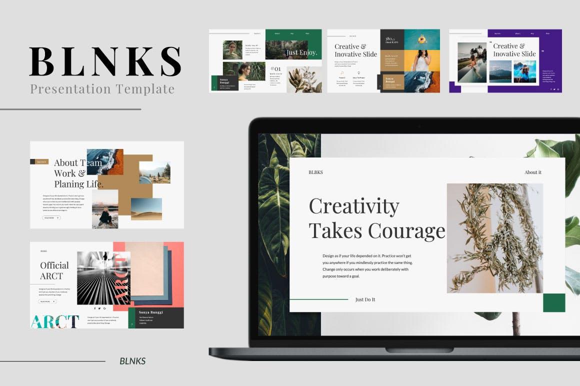 优雅创意版式设计多用途幻灯片模板下载BLNKS Keynote Template插图(1)