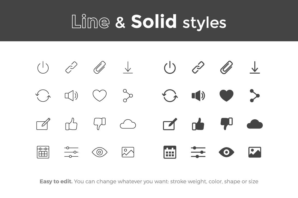 系统基础图标合集线性图标下载Basic UI Icons (vol.2)插图(1)